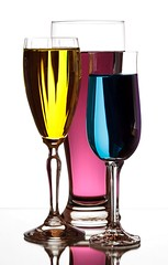3 Glasses (Karen_Chappell) Tags: glass glasses 3 three refraction liquid colourful colours colour multicoloured pink purple blue yellow white stilllife stemware