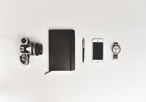 Retro Film Camera, Notebook, Pen, Smartphone and Watch