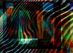 Abyss (Bamboo Barnes - Artist.Com) Tags: abstract abyss well water wave vivid blue red yellow green depth fnietzsche digitalart bamboobarnes art waves