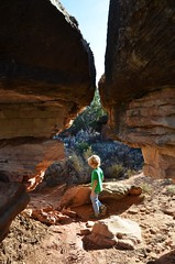 Everett On The Cave Spring Trail (Joe Shlabotnik) Tags: nationalpark utah hiking 2017 justeverett canyonlands everett november2017 canyonlandsnationalpark afsdxvrzoomnikkor18105mmf3556ged