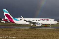 D-AEWU Airbus A320 Eurowings Glasgow airport EGPF 03.01-18 (rjonsen) Tags: plane airplane aircraft aviation weaterh rainbow taxying departure airliner airside