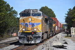 """Human, Shield & Wings"" NS 221 2/18/18 (tjtrainz) Tags: ns norfolk southern 221 intermodal train doraville ga georgia division greenville district up union pacific ac45ah es44ac gevo ge general electric 944cw c449w emd electro motive sd70m human highlight"