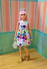 Polka Dots (CosmoMoore) Tags: curvybarbie barbie kawaii doll fashiondoll mattel handmade dollcrafts dollsewing
