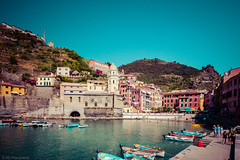 Ligurian (The Frustrated Photog (Anthony) ADPphotography) Tags: boat category cinqueterre citiestowns italy places seascape transport travel vernazza sea harbour village town church hills sky canon1585mm canon70d canon travelphotography outdoor boats square italian scenic bluesky bay port mediterranean liguriansea water building