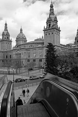 National Art Museum, Barcelona (Picturos404) Tags: museu nacional d'art de catalunya palau montjuïc national museum spain barcelona architecture palace lift elevator people city streets hill blackwhite black monochrome sky clouds