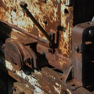 Rusting abandoned mining equipment, Atlas Coal Mine National Historic Site, East Coulee, Alberta.