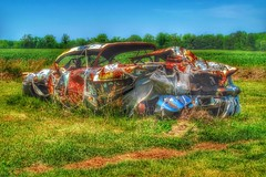 """""""LOW MILEAGE"""" (NC Cigany) Tags: junk car abandoned farm nc rural rust shrouded wreck"""