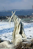 Statue de glace (jean-daniel david) Tags: hiver glace paysage lac lacdeneuchâtel nature blanc froid ciel bleu statue montagne suisse suisseromande switzerland yverdonlesbains