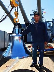 WWII Veteran Leo Garcia visits his ship, USS IOWA - 75th birthday and return of ship's bell (Konabish ~ Greg Bishop) Tags: bb61wwiivet2242018visittohisshipussiowa 75thbirthdayofbattleshipiowa bb61 ussiowa pacificbattleshipcenter portoflosangeles sanpedrocalifornia southerncalifornia warship shipsbell bell veteran ussiowacrewman shipmate gregbishopbattleshipiowavolunteershipsphotographer