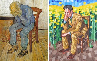 Old Man in Sorrow by Van Gogh 1890 and Middle Aged Man in Rapeseed by Anthony D. Padgett 2017