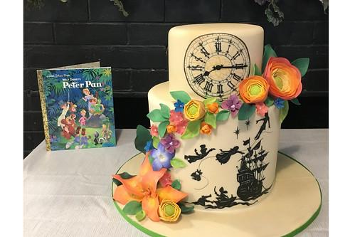 Peter Pan Book with Flowers Birthday Cake