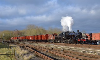 BR Standard 2MT Mogul Locomotive hauls the afternoon Vans through Swithland Sidings.  Winter Steam Gala, Great Central Railway. 28 01 2018