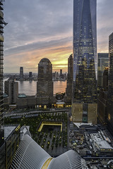 NYC Sunset, 2016 (Jack Heald) Tags: nyc cityscape sunset wtc manhattan oneworldtradecenter newyorkcity lowermanhattan city hilton hiltonhotel heald jack nikon zeiss 21mm tourist travel d750