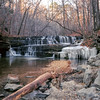 Little Piney Falls (WeldonG) Tags: rolleiflex automatrf111a zeisstessar75mm35 3stopndfilter log cascades waterfall rocks winter ice