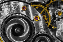 17 Jewels (KellarW) Tags: steampunk watchgears timemachine time gold gear engineeringmarvel red macromondays watch lessthananinch gears adjusted seventeenjewels pocketwatch steampunkgears seventeen metal 17 metalic redjewels jewels brushedmetal