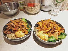 Spicy pork, bamboos hoots and dry mushroom with brown rice #willyskitchen #meal #food #dinner #rainydays