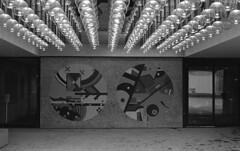wiggle wag. pt 2. (MarekSokal) Tags: mareksokal winnipeg wag winnipegartgallery street ilford hp5 canonfd ae1program art lights winter city downtown bw window painting sphere