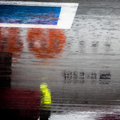 Colors in Rain (Al Fed) Tags: 20170821 hh rain colors abstract reflection airplane yellow blue red concrete airport hamburg