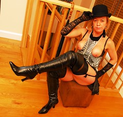 Purdey enjoys her facial (Charlies Booted Angels) Tags: thigh boots vintage avengers stockings gloves facial cumshot heels