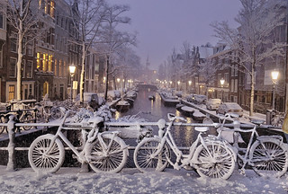 Cold wintry nights in Amsterdam