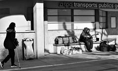 His place under the sun. (L_u_c) Tags: streetphotography streetshot streetmusician street strada streetscene streetfoto musician musicien music blackwhite blanconegro blanconigro blackandwhite noiretblanc noirblanc people gens gente genève geneva homme homeless outside outdoors rue nikond7500 nikon candid