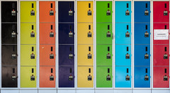 Limited storage in the red zone (A Different Perspective) Tags: 32 australia darwin blue damaged green lock locker numeric orange rainbow sign text wall yellow