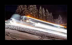 A Beast In Motion (richieb56) Tags: berg schnee snow mountain schneeraupe leitwolf langzeit night nacht licht light motion movement bewegung tirol skipiste piste baum kronplatz basher kraft power