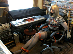 17 You keep stretching out those long sexy legs girl (Savanna Steel 1) Tags: damsel distress sexy secretary leather miniskirt skirt mini stockings heels high 6inch silk blouse gag gagged rope roped tied helpless