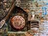Sprinkler (Karen_Chappell) Tags: stjohns city urban old brick building sprinkler rust metal pipe industrial newfoundland nfld canada architecture red orange bricks vent