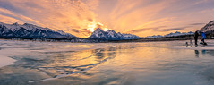 Sunrise on the ice @ Abraham Lake (deirdre.lyttle) Tags: abrahamlake alberta canada canadianrockies clearwatercounty frozenbubbles glaciallake ice nordegg rockymountains winter sunrise jewels snow mountains photographers methane blowing strong winds beautiful light
