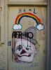 Ho Sweet Home (Steve Taylor (Photography)) Tags: real 30 afrho afr ho home hat clown pipe cloud rainbow handle art graffiti pasteup wheatup wheatpaste streetart tag door uk gb drips runs england greatbritain unitedkingdom london
