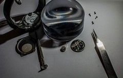2018 - photo 037 of 365 - watch batteries replacement day (old_hippy1948) Tags: watch batteries scredriver magnifyingglass tweezers tinyscrews