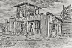 Barn (magnetic_red) Tags: barn shed wood decay abandoned building clouds sky blackandwhite dramatic old mojavenationalpreserve americanwest