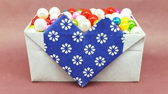 DIY Origami Heart Box Idea - Paper Heart Box making tutorial for Valentine (ufnmimcp) Tags: youtube origami papers made colors paper
