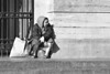 Homeless (d_t_vos) Tags: homeless hobo woman oldwoman building sit sitting outside scarf bag bags sun sunny sunnyday street streetphotography streetportrait portrait monochrome people zwartwit bw gate fence stairs step utrecht stadhuis stadhuisbrug dickvos dtvos