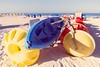 Beach Bikes (James Coolidge) Tags: beach soft fun blue yellow sand white vintage memory relax pleasant tranquil play joy