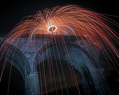 Headstone Viaduct (Tom Patterson) Tags: peakdistrict derbyshire countryside outdoors greatoutdoors gb uk greatbritain england monsaltrail monsal steelwool steelwoolspinning wirewool wirewoolspinning longexposure longexpo night nightphotography spinning orb vortex tunnel viaduct cycleway slow lights lightpainting dome sparkler sparklers sparks wands wand lightsaber lightsabre monsalhead headstonetunnel headstoneviaduct