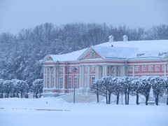 Let's visit this palace! (VERUSHKA4) Tags: canon europe russia moscow ville city cityscape park museum kuskovo palace window facade pink cloudy verushka4 neve neige vue view snowfall season hiver winter day grey white stairs column decor architecture pond lamp snowy