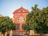 Church with orange trees (✦ Erdinc Ulas Photography ✦) Tags: orange trees wood city church old ancient culture tradition red wall cross catholic sevilla yellow spain españa stone figure sky sunny panasonic leaf street
