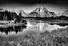 Mount Moran and the Snake (keycmndr (aka CyberShutterbug)) Tags: blackandwhite grandtetons hdr landscape mountains rivers