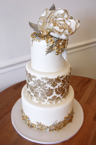 Gold and Silver Confetti Damask Wedding Cake