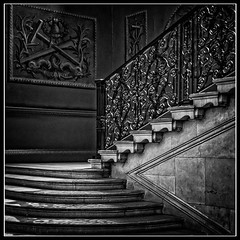 The Queen's Staircase (Tony Steinberg Photography) Tags: antique architecture art balustrade beautiful brown closeup colour copyrightarsteinbergallrightsreserved creative cultural culture eastmolesey england fineart glow glowing grey hamptoncourtpalace heritage historical history image indoors inside iron mahogany medieval metal old photo photograph photographicart scene square stairs steel steps stone surrey tonysteinbergphotography touristattraction traditional travel uk wall wood wroughtiron â©2013