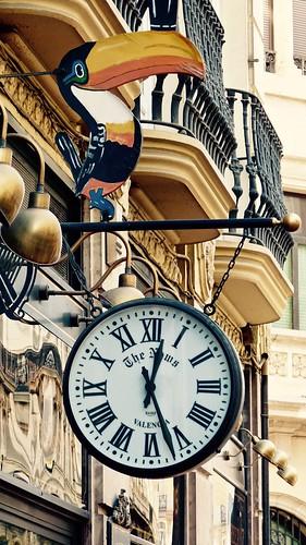 Pub Clock of Irish Pub 'The News' in Valencia Spain