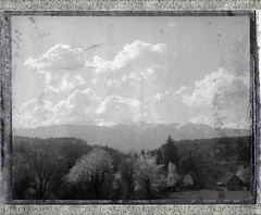 Spring Clouds, Goop (sycamoretrees) Tags: analog automatic100 clouds film fp3000b fp3000b201503 fuji goop instantfilm landcamera marianrainerharbach model100 mountain negative packfilm polaroid sky type100