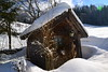 Little wooden house in the snow (echumachenco) Tags: wood house hut building shingles roof snow winter february tree forest salzburgerland hintersee austria österreich outdoor nikond3100 wundow lantern mountain lämmerbach feichten