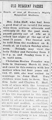 1914 - Christina [Ponader] Huff obit - Enquirer - 22 Jan 1914