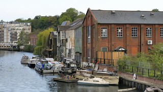 Victorian warehouses along River Wensum, Norwich, Norfolk, England..