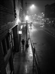Foggy Evening (52607) (Kurt Kramer) Tags: blueline bucktownwalk chicago cityscape el monochrome northavenue sixcorners street urban wickerpark eerie mysterious blackandwhite bw reflections silhouette fog foggy wet wetpavement foreboding