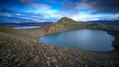 Blue Pool (lsten) Tags: majestical rock dry sand caldera calm amazing nature hnausapollur mystical lake theunforgettablepictures summer tripod wideangle amateurphotography nocturnal landscapephotography canoneos5dmarkiv sky ridge tranquility nisifilters water view travelphotography afternoon landscape fjallabak natureview leebigstopper singleshot mountains iso100 laowa12mmf28zerod sharp magnificent gravel rocks naturephotography iceland blue longexposure scenery beautiful ndfilter cliffs clouds f16 colors hills nisicpl 12mm wilderness mountain