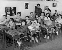 Class Photo (theirhistory) Tags: girls children kids school france desks class jacket shirt shoes wellies teacher wellingtons books form pupils students education